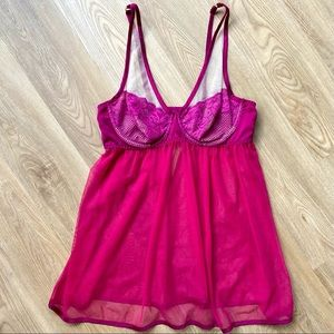 Cacique NWOT Pink Mesh & Lace Sheer Lingerie Top